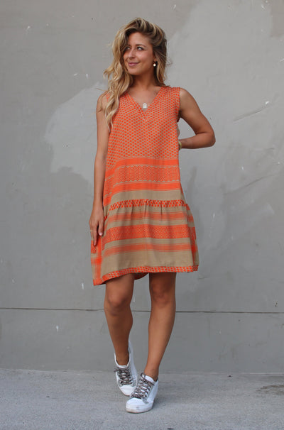 Dress 2 V No Sleeves - Orange