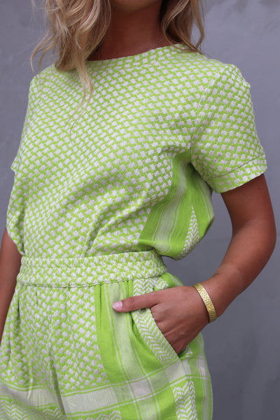 Shirt O Short Sleeves - Lime/Cream