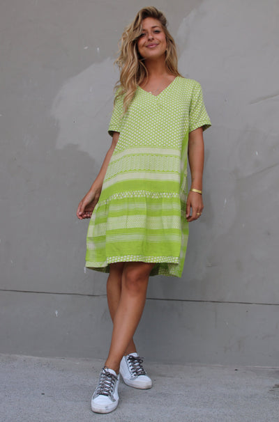 Dress 2 V Short Sleeves - Lime/Cream