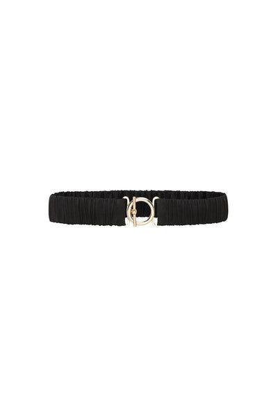T Bar Clasp Silk Belt - Black