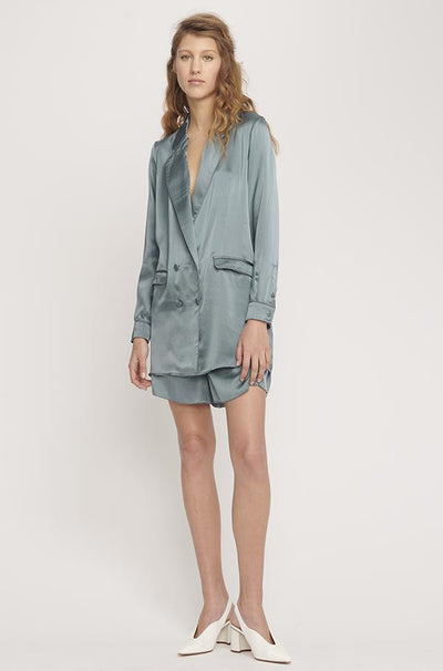 Silk Laundry Relaxed Blazer - Pacific Blue