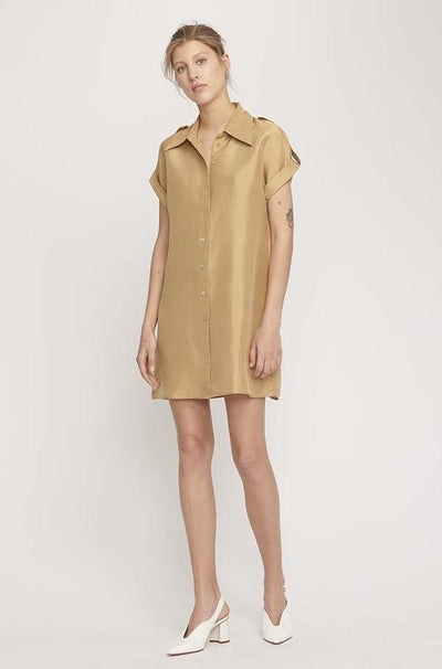 Drop Shoulder 60s Dress - Camel