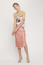 Bias Cut Skirt - Pink Jacquard