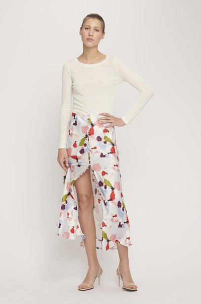 Button Up Bias Cut Skirt - Flowers