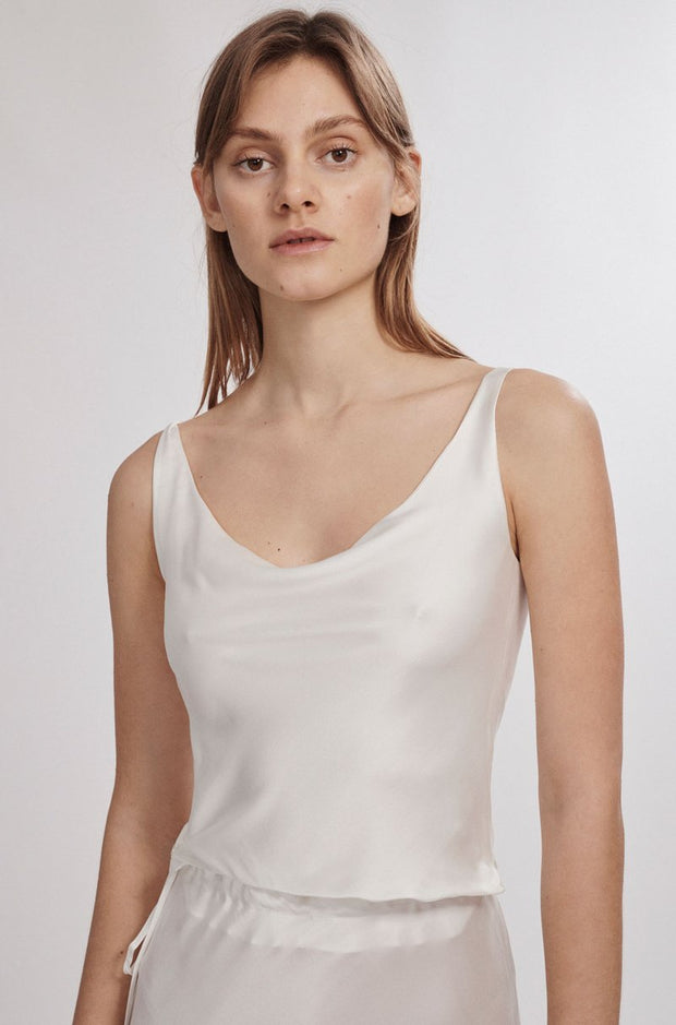Wide Neck Top - White