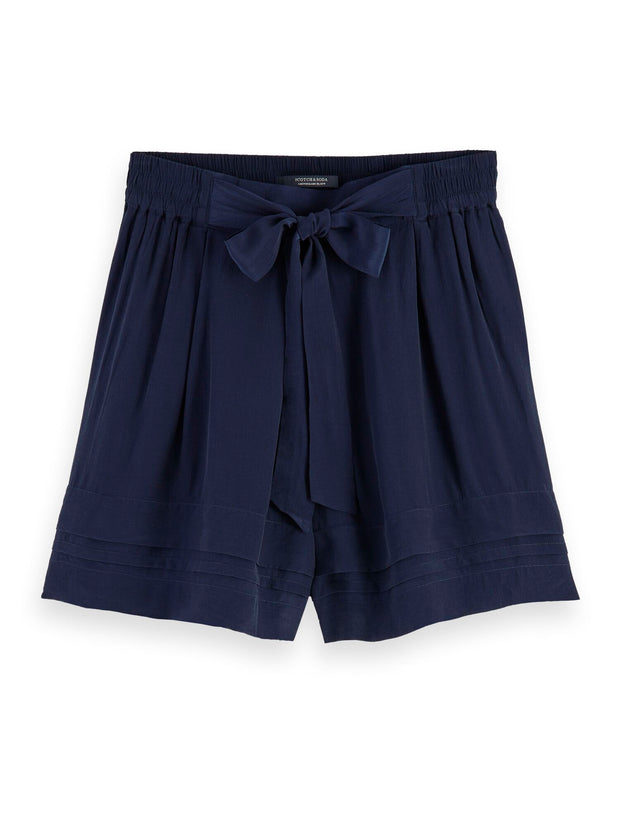 High Waisted Viscose Shorts - Navy