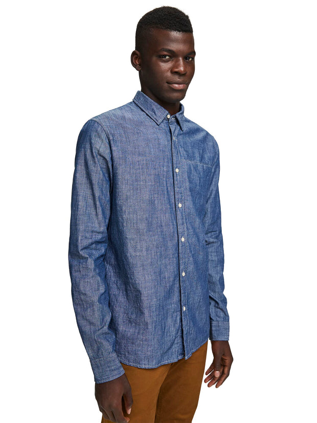 Denim Shirt with Fixed Pocket Square | Regular fit - Combo B