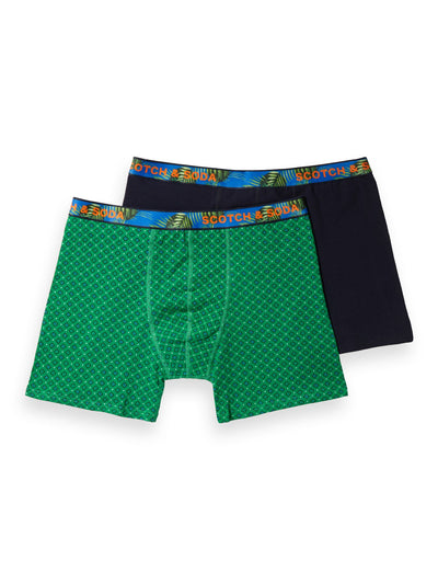 2-Pack Printed & Solid Boxer Shorts - Combo B