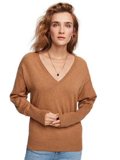 Basic V-Neck Pullover - Utility Brown Melange