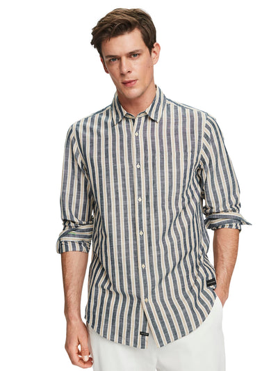 Striped Cotton-Linen Shirt | Regular Fit - Combo B