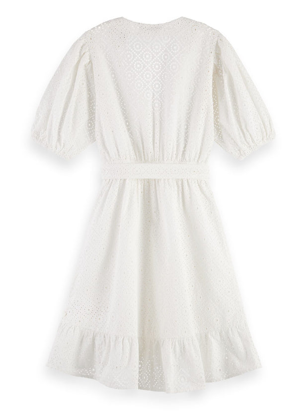 Broderie Anglaise Wrap Dress - White