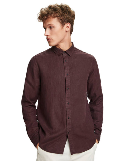 Linen Shirt | Regular Fit - Bordeaubergine