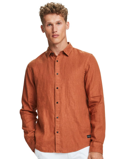 Linen Shirt | Regular Fit - Russet Brown