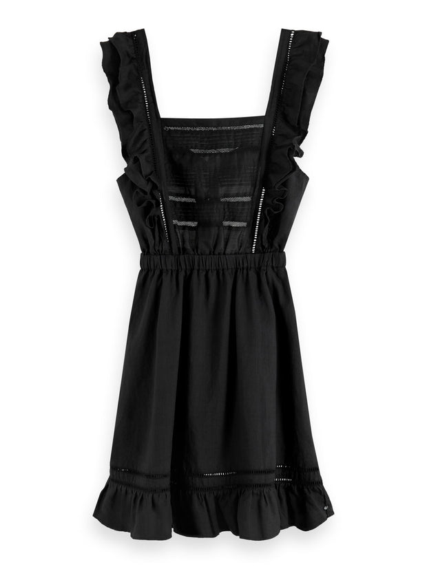 Ruffled Ramie Dress - Black