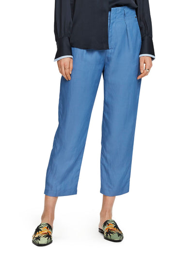 Linen Blend Trousers - Azure Blue