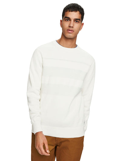 Structured Stripe Pullover - Denim White