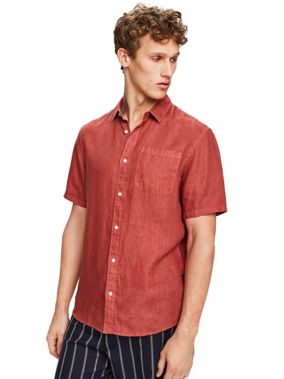 Short Sleeved Linen Shirt | Regular Fit - Cinnabar