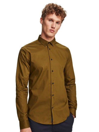 Stretch Cotton Shirt | Slim Fit - Military