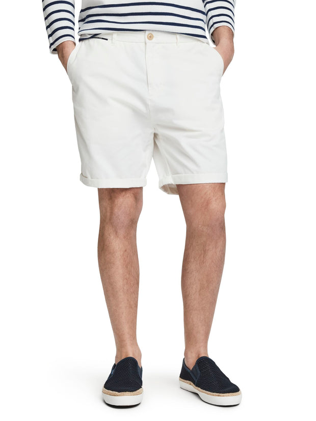 Pima Cotton Chino Shorts - Denim White