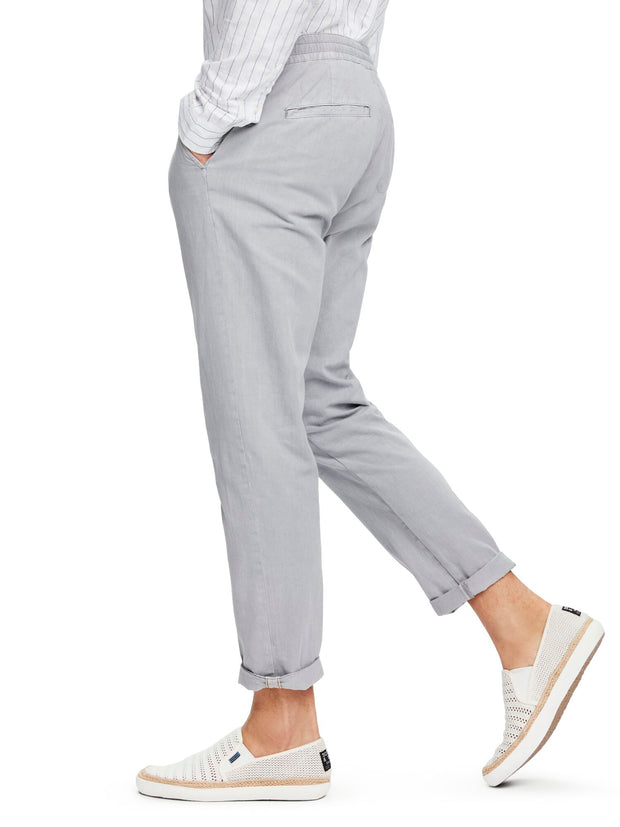 Warren - Cotton-Linen Trousers | Regular Straight Fit - Grey 32""