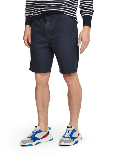 Cotton-Linen Shorts - Navy
