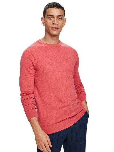 Classic Cotton-Cashmere Pullover - Rosewood Melange
