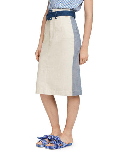 Colour Block Denim Pencil Skirt - Combo L