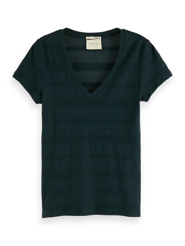Basic V-Neck T-Shirt - Midnight Forest
