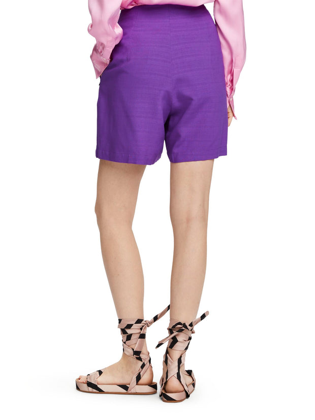 High Waisted Viscose Shorts - Purple