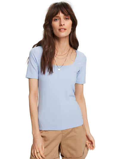 Square Neck T-Shirt - Sky Blue