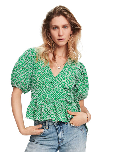 Broderie Anglaise Wrap Over Top - Tikki Green