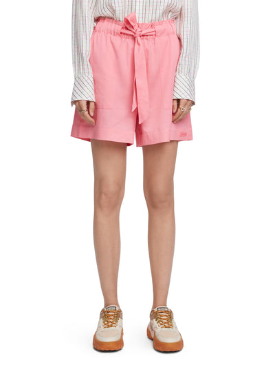 Cotton Blend Paperbag Shorts - Sorbet Pink