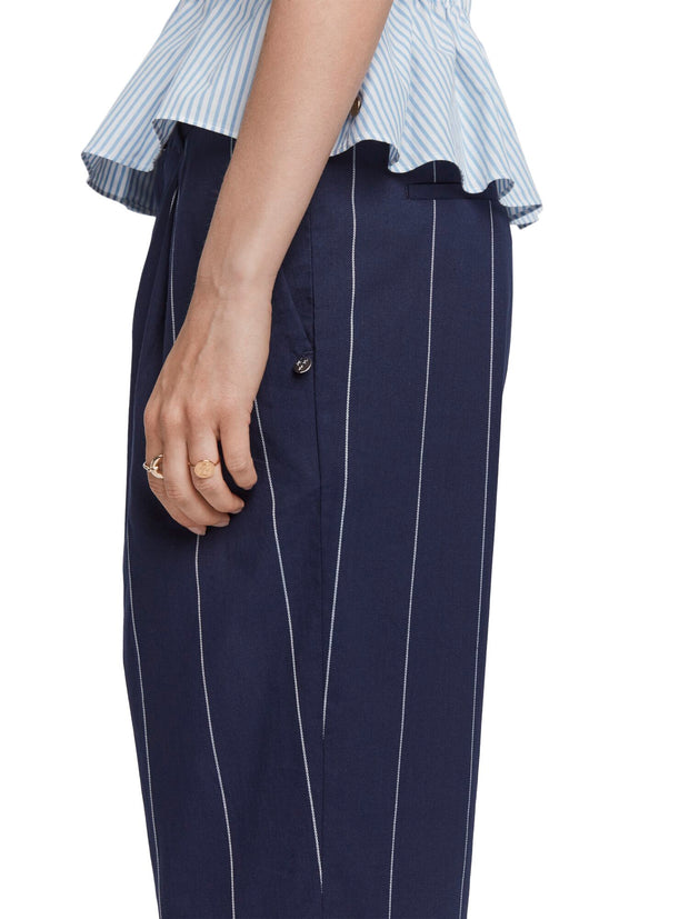 Striped Linen Blend Trousers | Relaxed Fit - Combo S