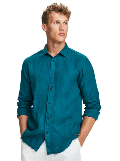 Linen Shirt | Regular Fit - Deep Sea Green