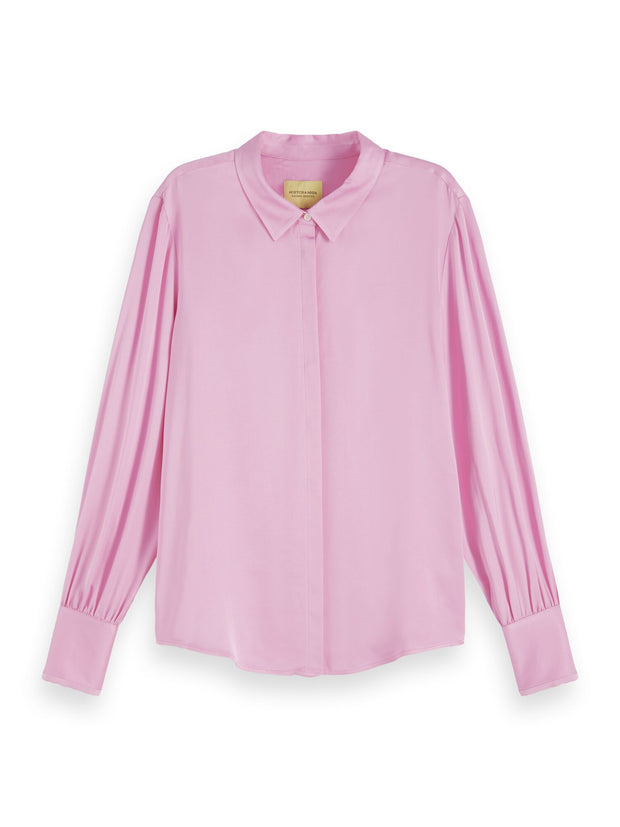Viscose Satin Shirt - Pink Violet