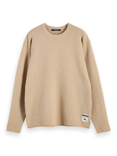 Oversized Long Sleeve Cotton-Blend Knit - Natural Cloth