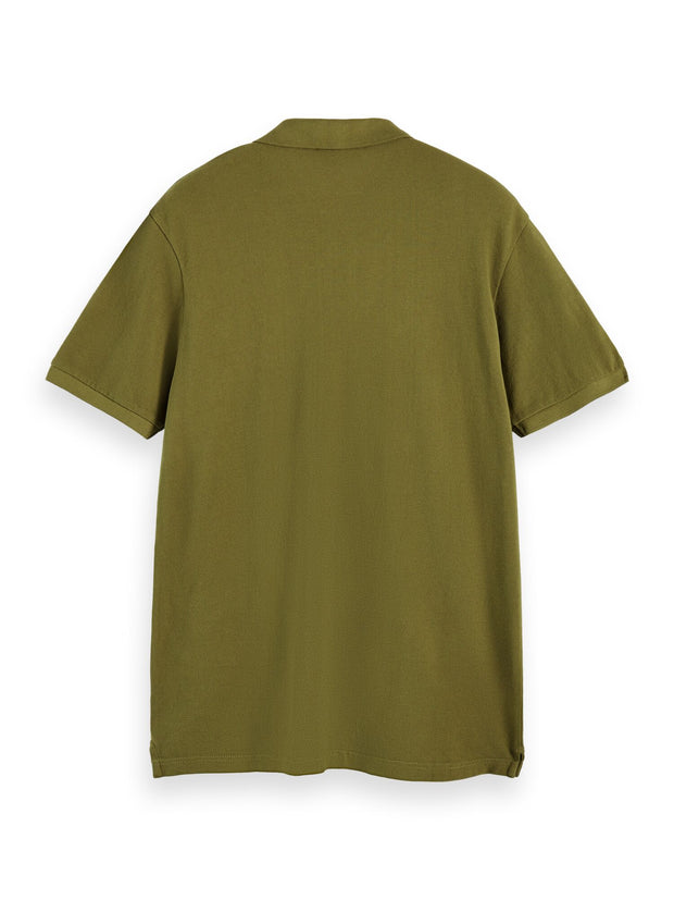 100% Cotton Short Sleeve Polo Shirt With Pocket - Military Green