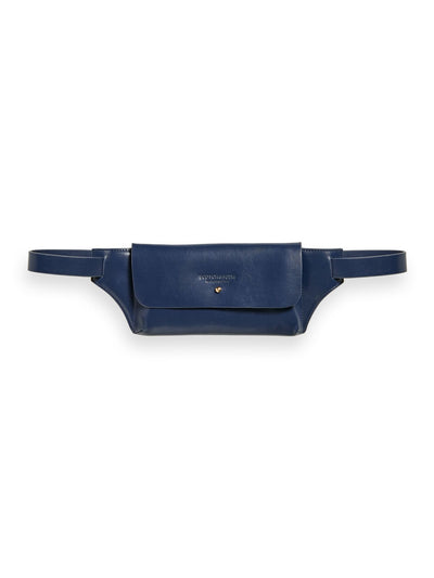 Leather Belt Bag - Navy