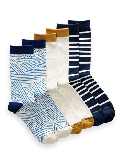 3-Pack Cotton-Blend Crew Socks - Combo A