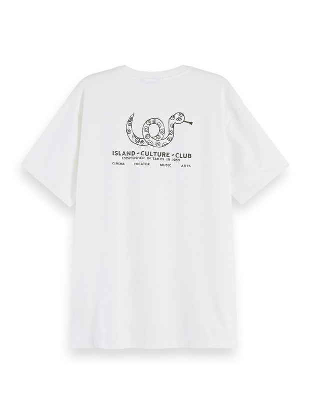 100% Cotton Short Sleeve T-Shirt With Printed Artwork - Off White