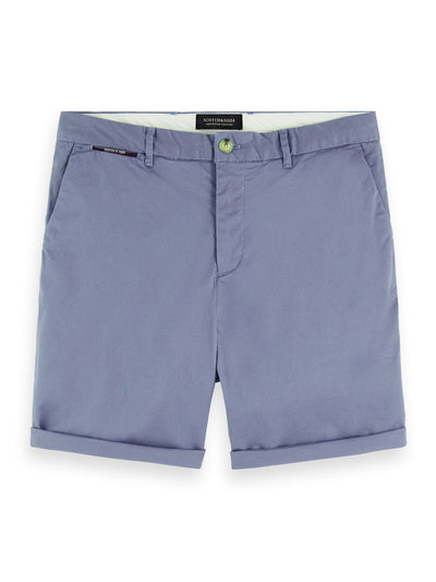 Pima Cotton Chino Shorts - Azul Mediterraneo