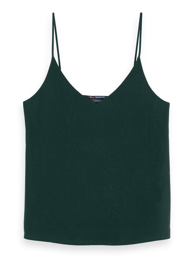 Cotton-Blend V-Neck Spaghetti Strap Tank Top - Lagoon Green