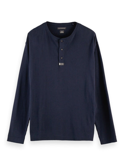 100% Cotton Long Sleeve Grandad Tee - Navy