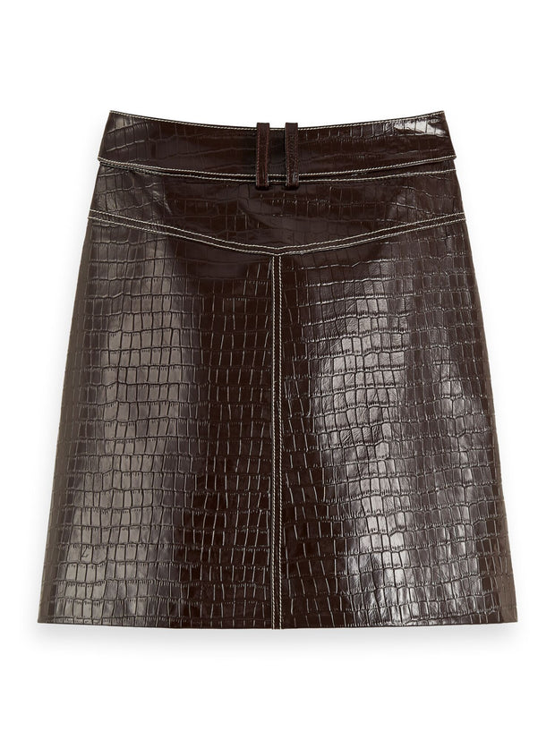 Belted Patent Leather Croc-Effect Mini Skirt - Wine