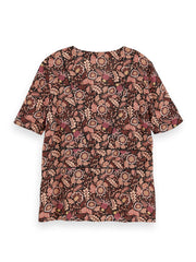 Floral Print Short Sleeve Top - Combo A