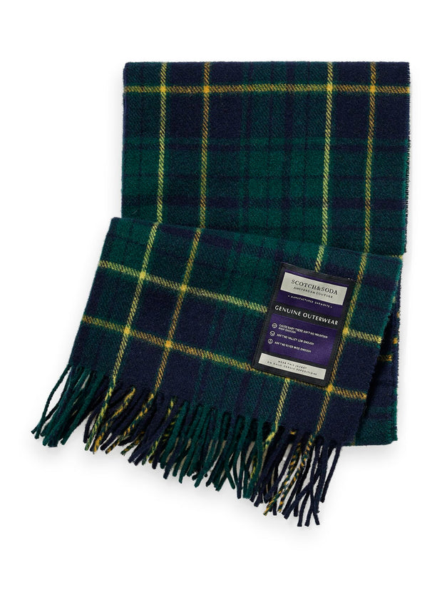 Soft Wool-Blend Checked Scarf - Combo C
