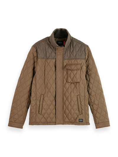 Shorter Length Quilted Jacket - Military