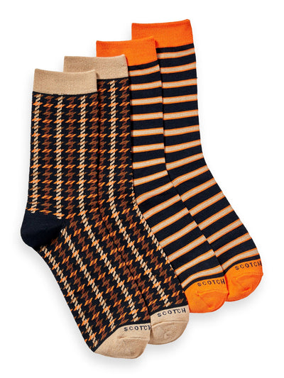 2-Pack Cotton-Blend Patterned Socks - Combo A