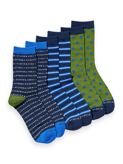3-Pack Cotton-Blend Socks - Combo B