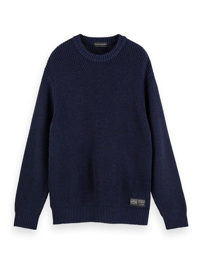 Wool-Cotton Crewneck Pullover - Night